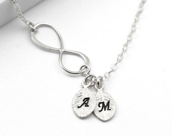 Infinity Necklace, Personalized Necklace Infinity Jewelry, Sterling Silver Infinity Initial Necklace, Custom Letters, His and Her Initials