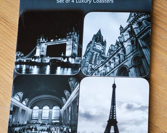 Coaster Gift Set - 4 Travel Photography Coasters - Manchester, Paris, London, New York - Tableware, Homeware