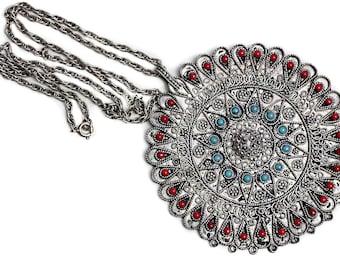 Israel Jerusalem Filigree Pendant Silver Artisan Necklace Jewish Jewelry old Vintage Jewellery