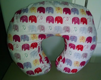 Elephants Pink Flannel Boppy Cover