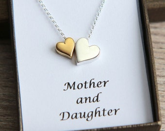 Mother Daughter Necklace, Gold Silver Heart Necklace, Two Hearts Necklace, Sisters Necklace,  New Mom Necklace,Mother Daughter gift,BFF gift