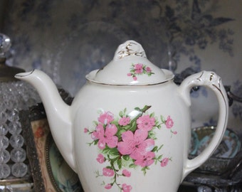 Vintage Imperial Ware England Pink Blossom large coffee / tea pot