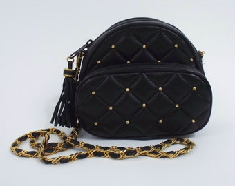 Vintage 90s Faux Black Leather Small Quilted Purse
