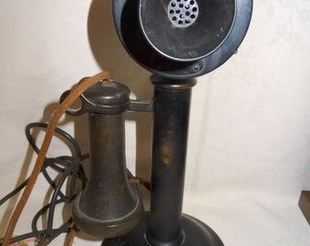 Antique Candlestick Telephone Brass American Tel & Tel