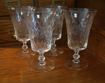 Fostoria vintage Crystal Etched Water Goblets/Iced Tea, set of 4 Stemware