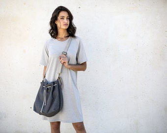 Gray Bucket Bag, Women Purse, Drawstring Leather Bag, CrossBody, Gray Bag- New Collection
