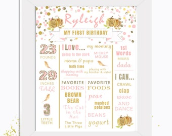 Our Little Pumpkin is Turning One Poster-First Birthday Poster-by Designs by Laura