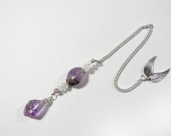 Natural Terminated Purple Amethyst Crystal Point Gemstone, Rock Crystal Quartz, Moonstone, Pewter Angel Wings Sterling Silver Chain Pendulum