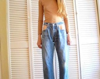 Vintage Levi's 501 Distressed Denim Reworked Custom Cut-Out Frayed Hem Jeans Size 31