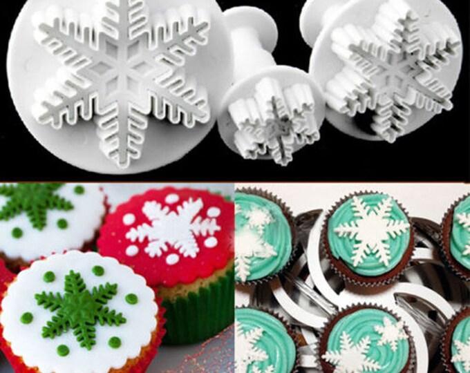 3 pc Snowflake A Cookie Cutter Plunger Mold Set - Snowflake Snow Frozen Elsa Snowflakes Winter Candy Fondant Cutter