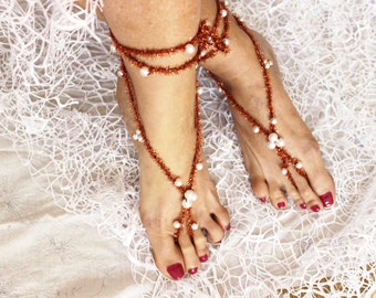Barefoot sandals pearl, Feet Accessories, Summer sandals, Bare sandals shoes, Pearl foot jewelry, Yoga jewelry, Pearl Beach accessories