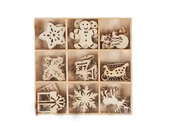 Christmas Laser Cut Wood Shapes - 45 pieces