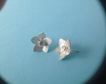 Frangipani Flower Skeleton Leaf Textured Sterling Silver Earrings