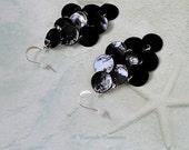 Black Mussel Shell Earrings / Black Shell Earrings / Chandelier Earrings / Womens Gift / Cascading Earrings