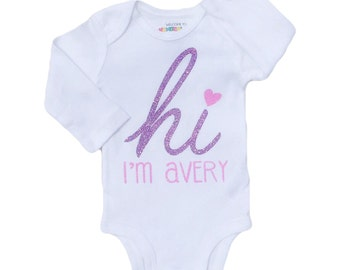 HI Personalized Girl's Name Bodysuit / Toddler Tee Tank Top Baby Gown - CUSTOM NAME Sparkly color gold pink red silver