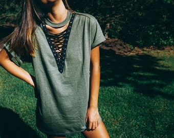 Simple Olive Green Lace Up Tee // Lace Up Top // Lace Up Shirt // LF Inspired