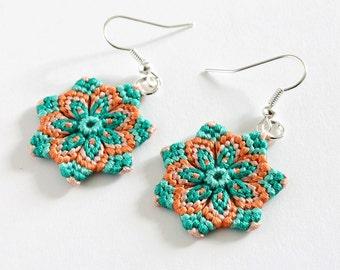 Macramè earrings mandala flower dangle boho hippie