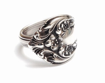 Sterling Silver Spoon Ring circa 1940 - Handmade Spoon Ring - Silverware Jewelry