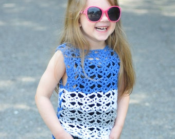 Sunshine and Lace Tank - Child - PDF crochet pattern - summer, kids, toddler, top, lace, beach, cover