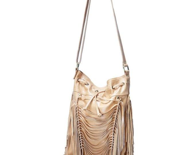 REDUCED PRICE!! Boho leather fringe bag, Camel color