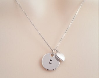Silver Initial Necklace, Everyday Wear, Personalized Jewelry, Tiny Heart Charm