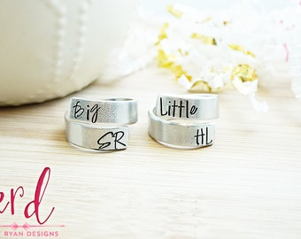 Big Little Wrap Ring Set - Big Little Sorority - Bid Day Jewelry - Sorority Gift Ideas - Big Little Gift - Hand Stamped Silver Wrap Rings