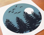 Handmade screenprint and linocut, Flying Home for Winter, Geese and Trees in Blue Green Slate colour & black ink