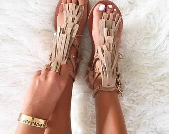Toufa boho leather sandal, handcrafted from genuine Greek leather and soft suede fringe