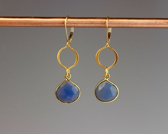 """Blue Chalcedony Earrings - Gold Jewelry - Blue Earrings - Gift for her - Gold earrings - Blue Jewelry - dangle earrings - """"Morocco"""""""