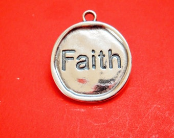 925 sterling silver oxidized Faith disc charm, sterling silver  Faith charm, silver  disc with Faith