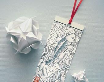 Bookmark: 'Lucky Carp', print of original ink-painting artwork