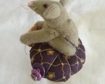 Primitive Pin Cushion, Whimsical Mouse Pincushion