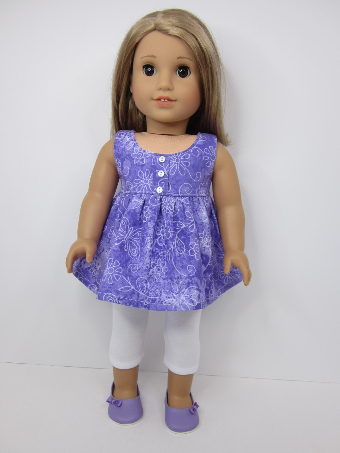 American Girl doll clothes Cute purple baby doll top with