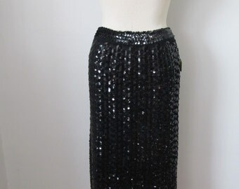 Vintage 80's Sequin Skirt Black With Tag Size Small Old Stock