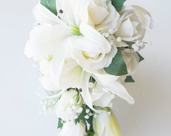Wedding Off White Lily Natural Touch Ivory Roses Cascade Silk Flower Bride Bouquet