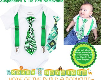 St Patrick's Day Baby Outfit - Baby Boy - Newborn - First St. Patrick's Day - Saint Patricks Day - Shirt - Tie - Suspenders - Shamrock