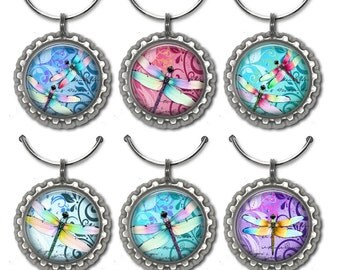 Dragonfly Wine Charms - set of 6 wine charms