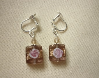 Murano Glass Square Earrings - for non pierced ears