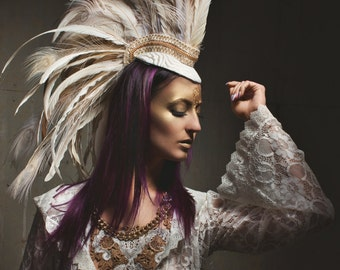 Priestess White Feather Mohawk by Drafted Eminence