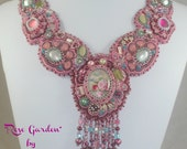 Rose Garden-Now offered at a SALE price!-Bead embroidered necklace