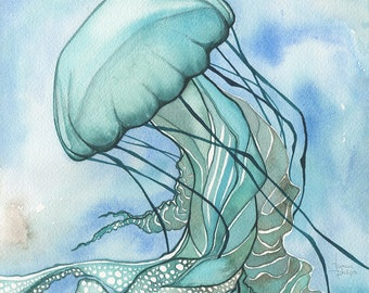Turquoise JELLYFISH 8.5 x 11 print of watercolour painting in elegant sea foam with aqua tentacles and lace delicacy, sea ocean love