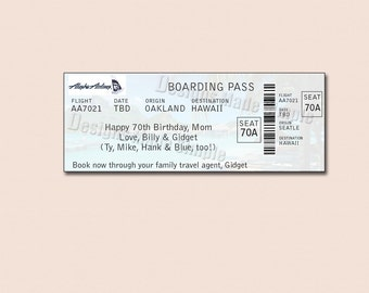 Customized Boarding Pass for Surprise Getaway, Holiday, Vacation - Printable