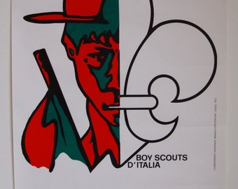 Original Vintage 1970s Boy Scouts of Italy Poster Boy Scouts D'Italia
