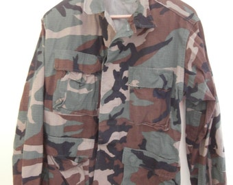 US Army, Military Issue, Jacket, Woodland Camouflage, Hot Weather,  Combat Coat, Size Small Short