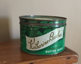 1952 Tin Can with Lid, Vintage Katharine Beecher Butter Mints,  Rustic Kitchen Decor Herb Flower Pot