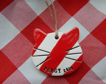 Personalized Cat Christmas Ornament, Candy Striped Ceramic Ornament