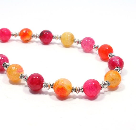 bright pink and orange agate necklace bright gemstone beaded