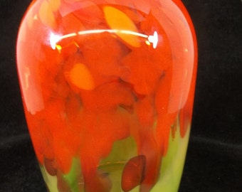 SALE Blown Art Glass Vase by 2400 Fahrenheit Hawaii Michael Mortara Orange Green Yellow