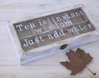 Customized tea box , wedding box gift , personalized wedding box, wood tea box , rustic storage box, teacher gift
