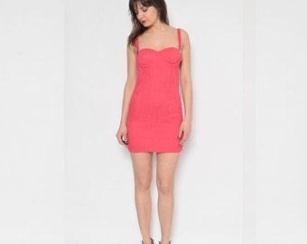 Vintage 90's Pink Bustier Mini Dress / Sleeveless Mini Dress / Ribbed Mini Dress / Suspenders Mini Dress